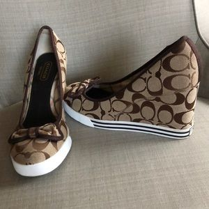 Coach Sweet Tie Wedge Shoes 8.5